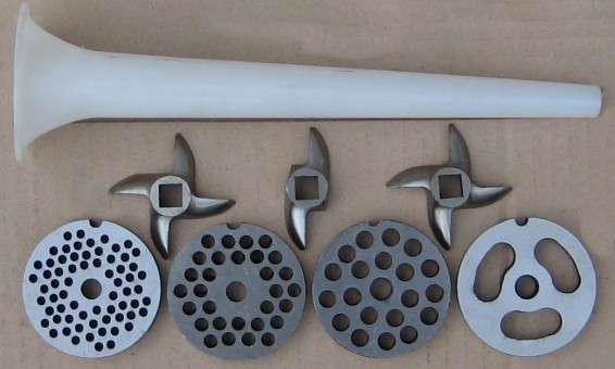 Commercial meat mincer parts - plates, knives, knife for commercial meat grinder