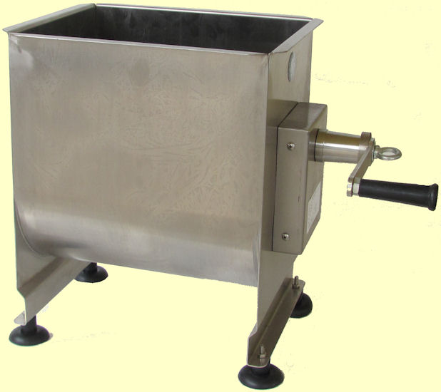 Commercial meat mixer with handle manual drive