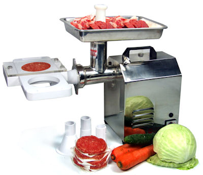 Commercial patty maker attachment to meat mincer
