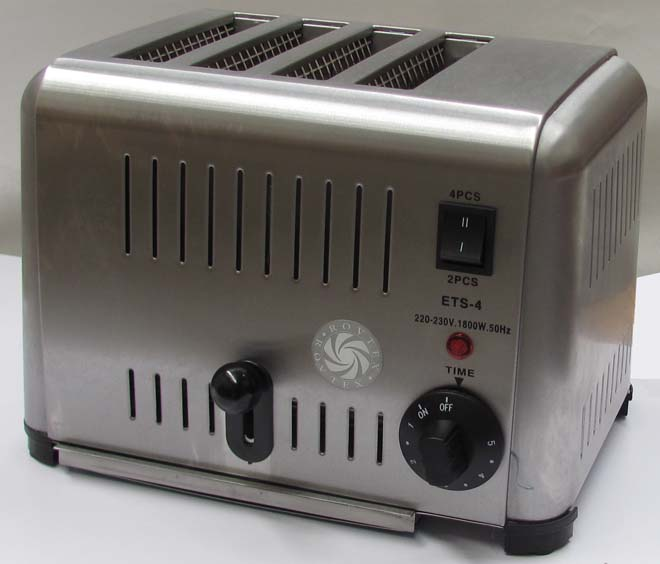 Vertical Pop Up commercial toaster with four wide slots
