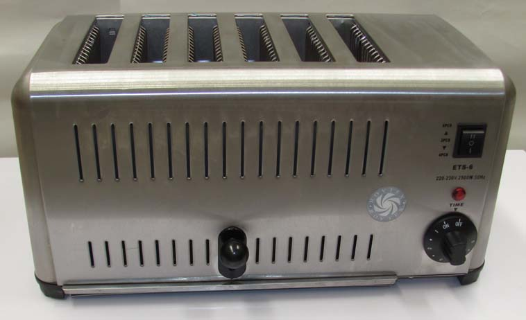 Vertical Pop Up commercial toaster with six wide slots