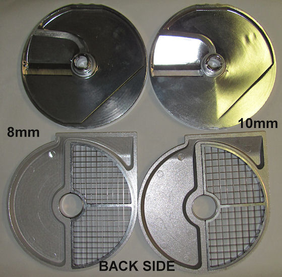 Dicing and slicing discs for ROVTEX food processor HLC300 vegetable cutter HLC-300. Rear view