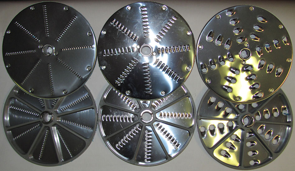 Left to right 2mm, 5mm and 10mm grating discs for ROVTEX commercial vegetable cutter. Discs are shown from both sides.